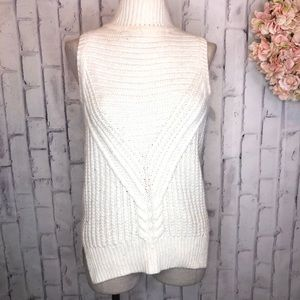 ASOS cream sleeveless cable knit turtleneck vest
